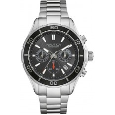 Nautica Watch Man Chronograph Silver and Black