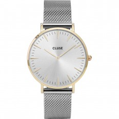 Cluse Watch Only Time Woman Rose Gold Silver/White Mesh La