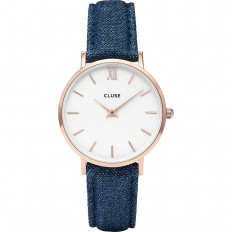 Cluse Watch Only Time Woman Rose Gold White/Blue Denim La