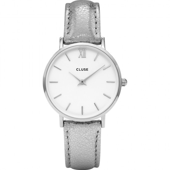 Cluse Watch Only Time Woman Silver/White Metallic Minuit