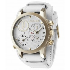 Police Watch Man Multifunction White/Gold