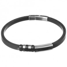 Lorenz Bracciale Uomo Black Leather