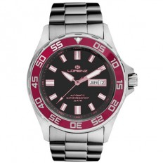 Lorenz Automatic Men's Watch Black/Red 200mt