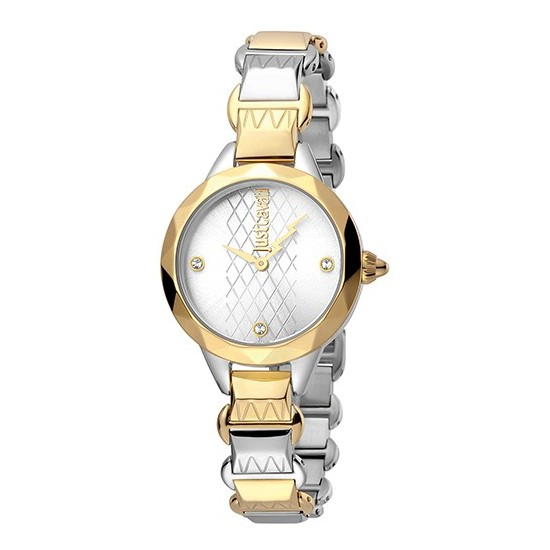 Just Cavalli Women's Watch Only Time Rock Collection Silver/Gold Crystals