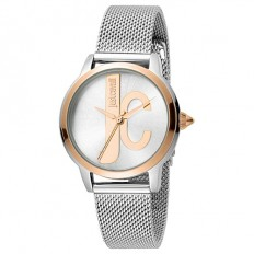 Just Cavalli Women's Watch Only Time Logo Collection Silver/Rose