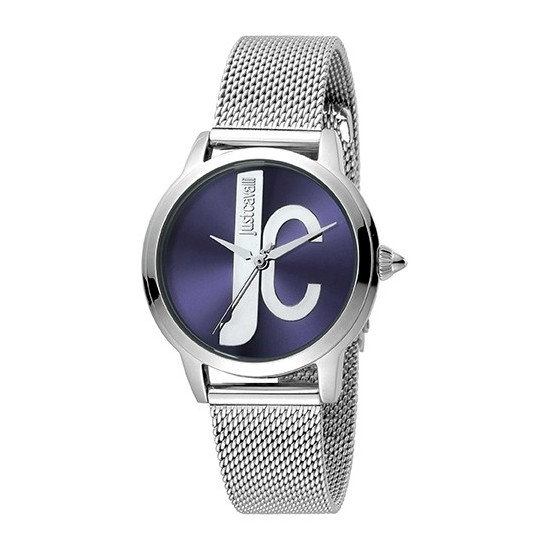 Just Cavalli Women's Watch Only Time Logo Collection Silver/Blue