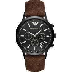 Armani Men's Watch Chronograph Brown Leather
