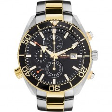 Lorenz Watch Men's Chronograph Classic Professional Collection Silver/Gold
