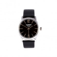 Hammer Watch Unisex Only Time Portofino Collection Black Leather