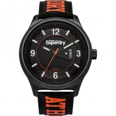 Superdry Watch Unisex Only Time Yokohama Collection Black/Orange