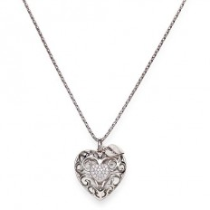 Amen Necklace Woman Pepite Collection Heart Rhodium