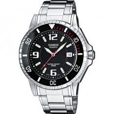 Casio Men's Watch Only Time Silver/Black 200mt