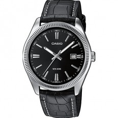 Casio Men's Watch Only Time Casio Collection Leather Black