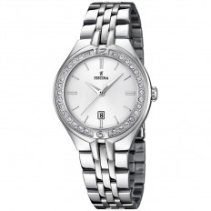 Festina Watch Woman Only Time Mademoiselle Collection Silver Crystals Baton