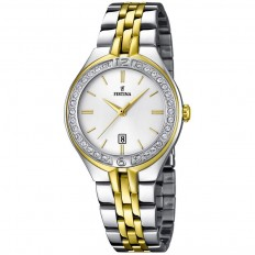 Festina Watch Woman Only Time Mademoiselle Collection Silver/Gold Crystals Baton