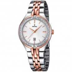 Festina Watch Woman Only Time Mademoiselle Collection Silver/Rosegold Crystals Baton