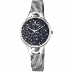 Festina Watch Woman Only Time Mademoiselle Collection Milanese Glitter Black