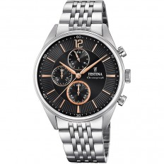 Festina Watch Man Chronograph Timeless Collection Black/Rosegold