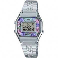 Casio Digital Watch Woman Vintage Silver Flower