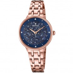 Festina Watch Woman Only Time Mademoiselle Collection Blue Rosegold